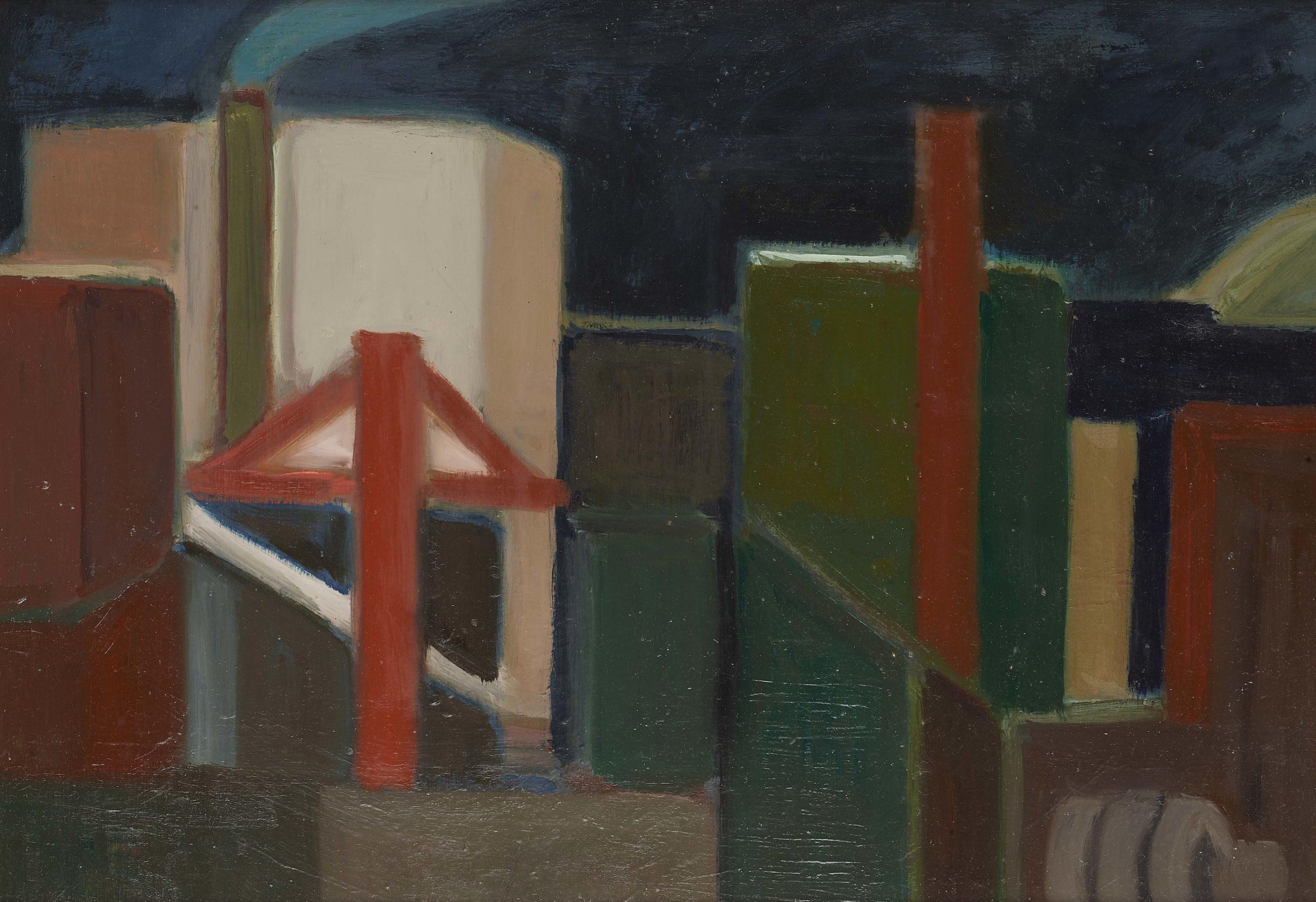 Gru e container di notte